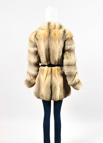 Balenciaga Beige, Black, and Tan Fox Fur and Leather Belted Coat Backview