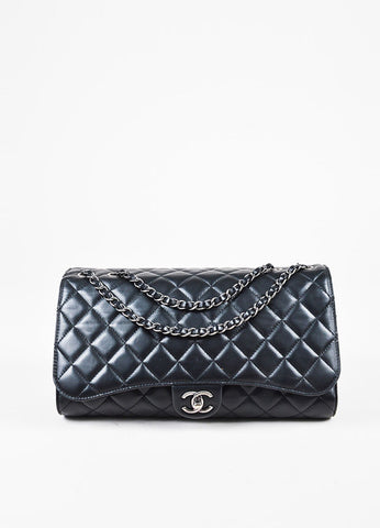 Chanel Black Quilted Leather 'CC' Flap Drawstring Shopping Bag Frontview