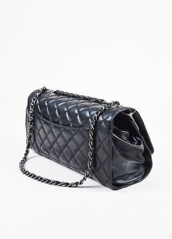 Chanel Black Quilted Leather 'CC' Flap Drawstring Shopping Bag Sideview