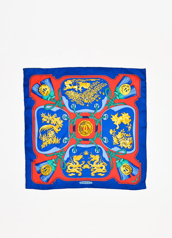 "Hermes ""Tsubas"" Multicolor Silk Printed Scarf Frontview"
