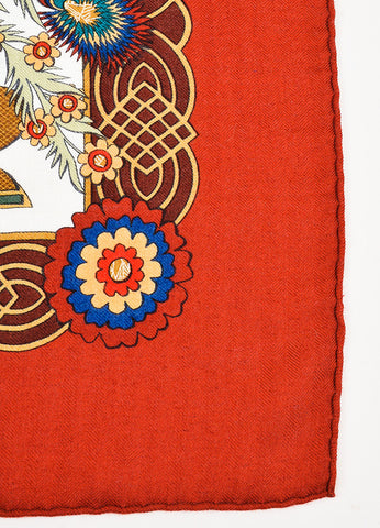 "Hermes Red, White, and Beige Cashmere and Silk ""Decoupages"" Scarf Detail"