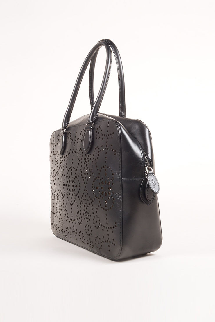 Alaia Black Laser Perforated Leather Rectangular Shoulder Bag Sideview