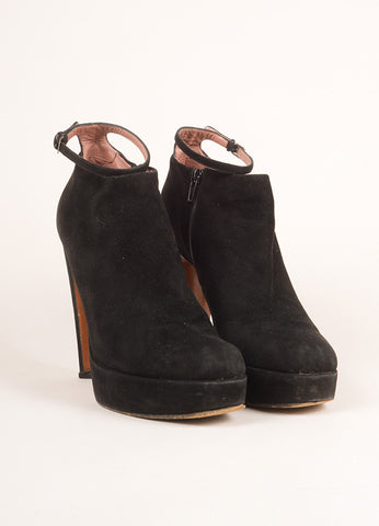 Alaia Black Suede Leather Ankle Strap High Heel Booties Front