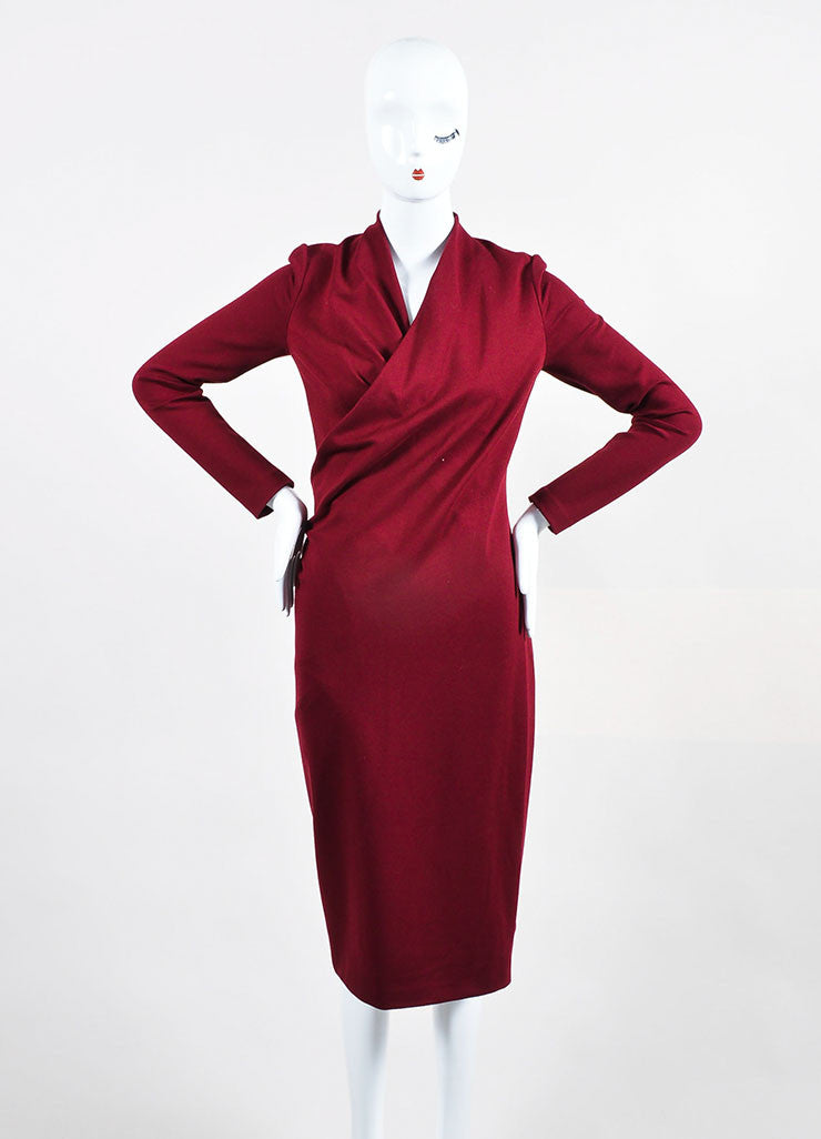 Maroon Alexander McQueen Jersey Knit Pleated V Neck Wrap Dress Frontview