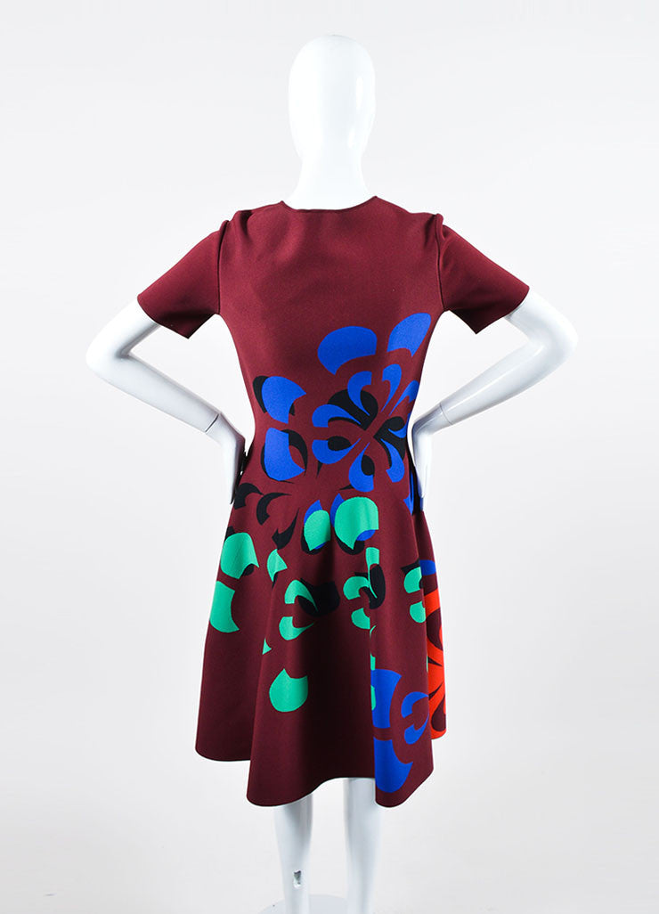Maroon and Multicolor Alexander McQueen Stretch Knit Skater Dress Backview