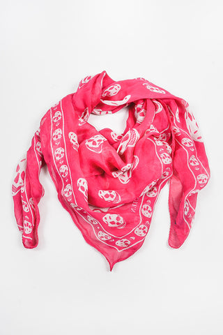 Alexander McQueen Pink and White Silk Skull Print Scarf Frontview