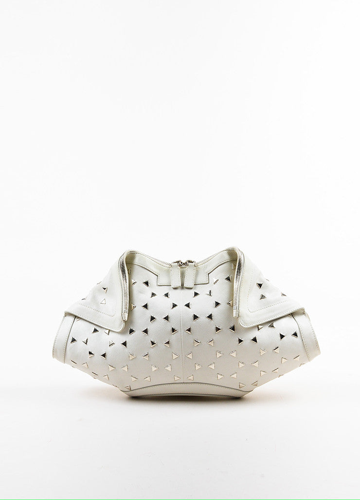 "Alexander McQueen White Leather Triangle Studded ""De Manta"" Clutch Bag Frontview"