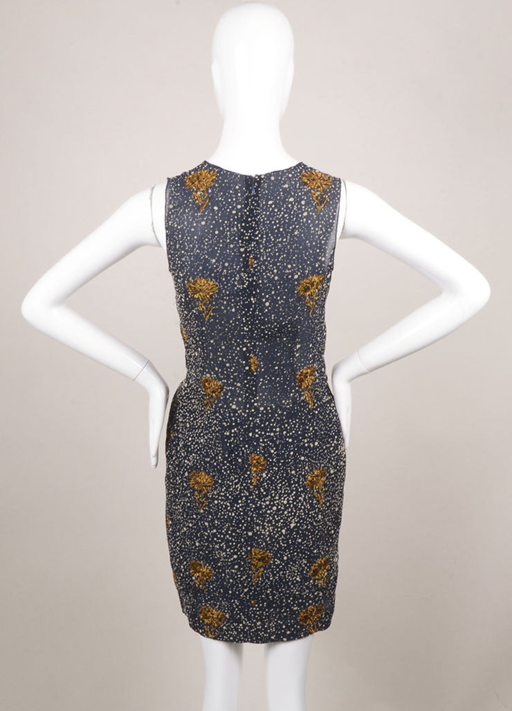 Balenciaga Navy Hammered Silk Blend Floral Embroidered Sleeveless Dress Backview