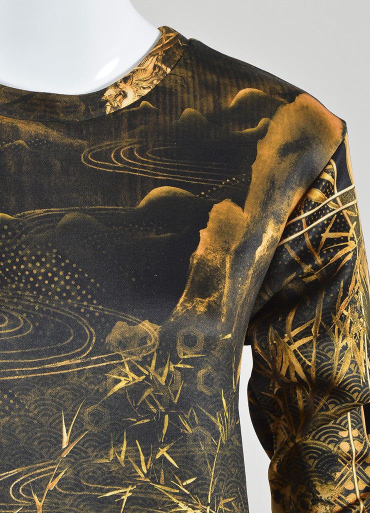 Yellow and Black í«ŒÇ?íëíìBalmain Bamboo Dragon Graphic Print Neoprene Sweatshirt Detail