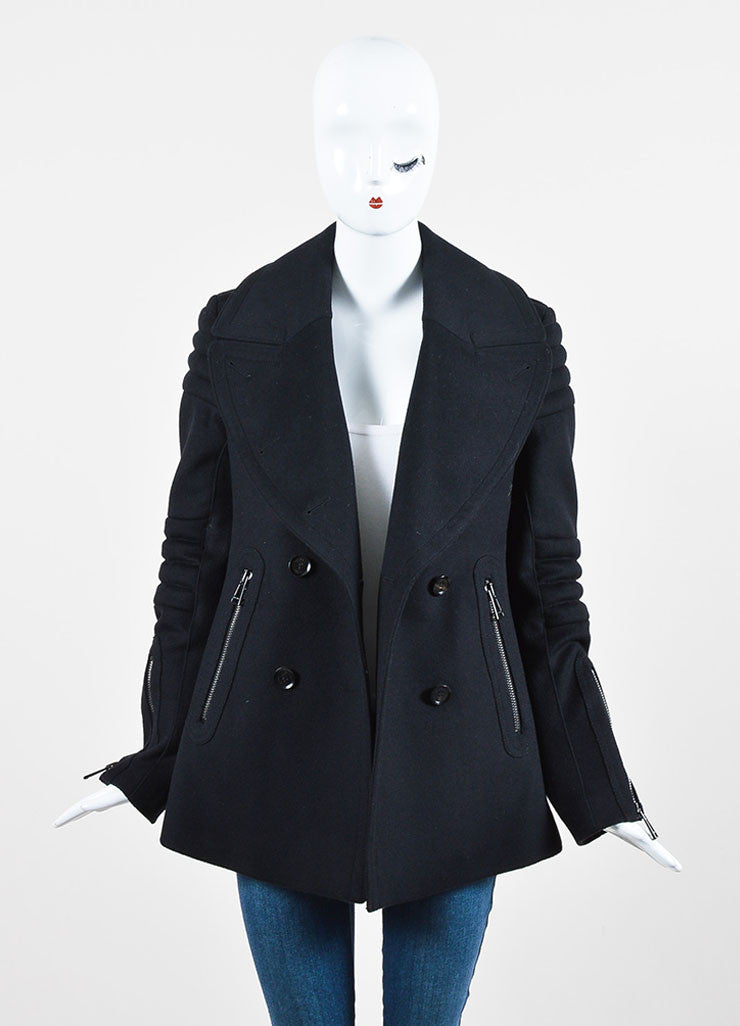 "Belstaff Black Wool Double Breasted ""Croft"" Moto Peacoat Frontview"