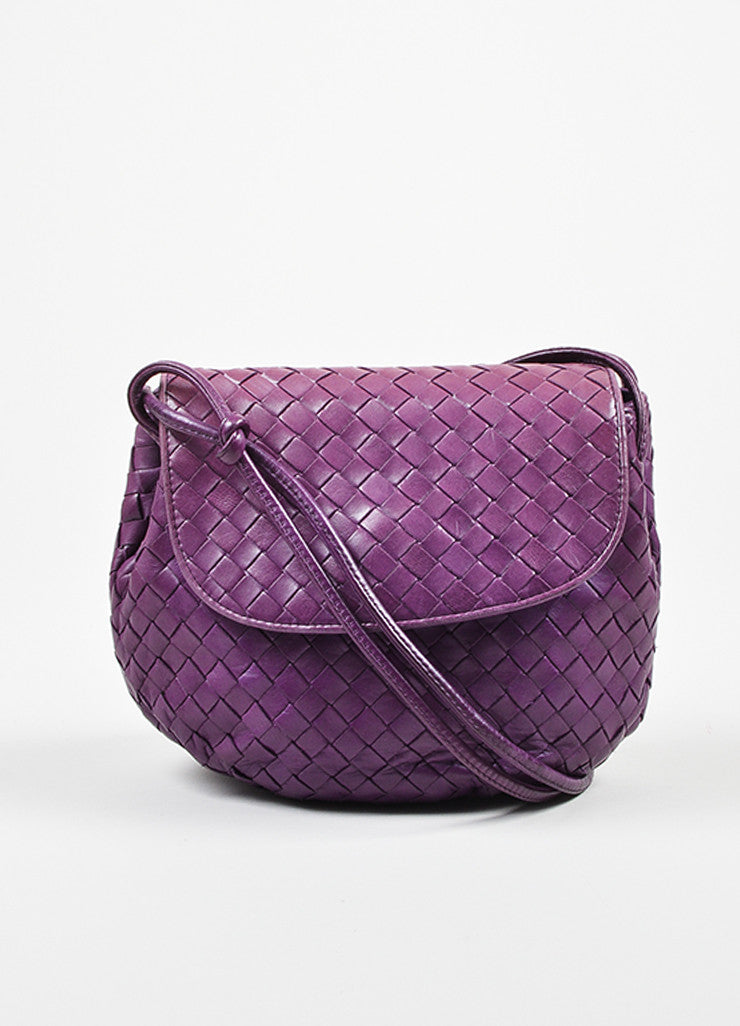 Purple Bottega Veneta Leather Intrecciato Knot Strap Crossbody Bag Frontview