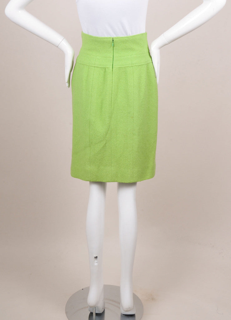 Chanel Lime Green Wool Boucle High Waisted Pencil Skirt Backview