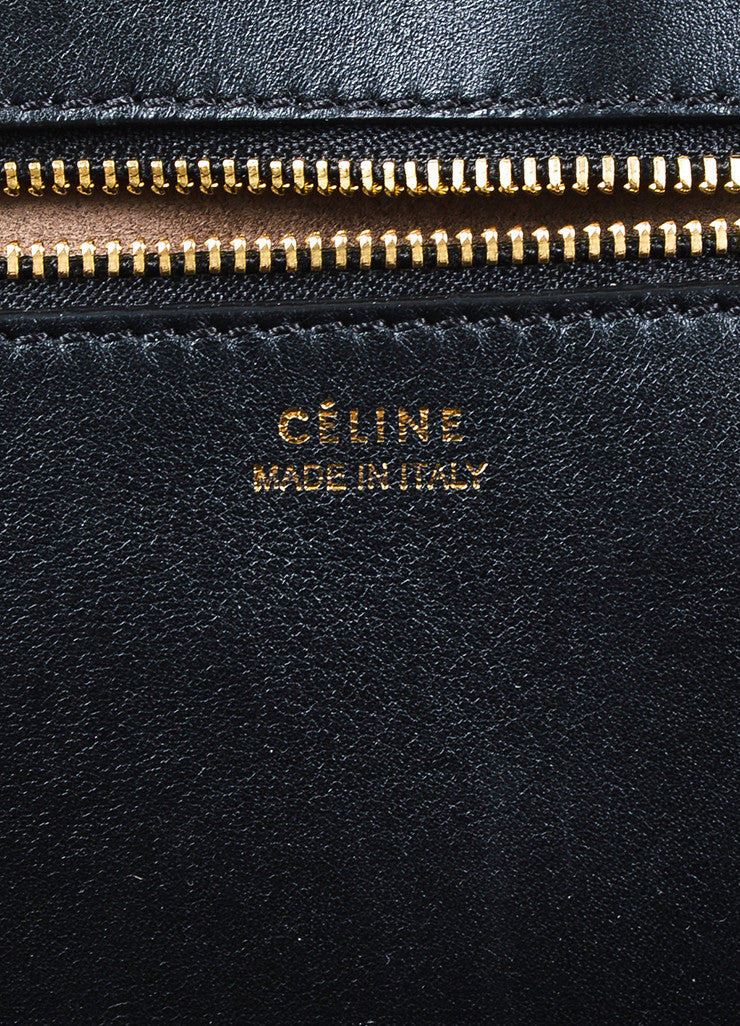 "Celine Black Leather Flap Top ""Medium Tie"" Tote Bag Brand"