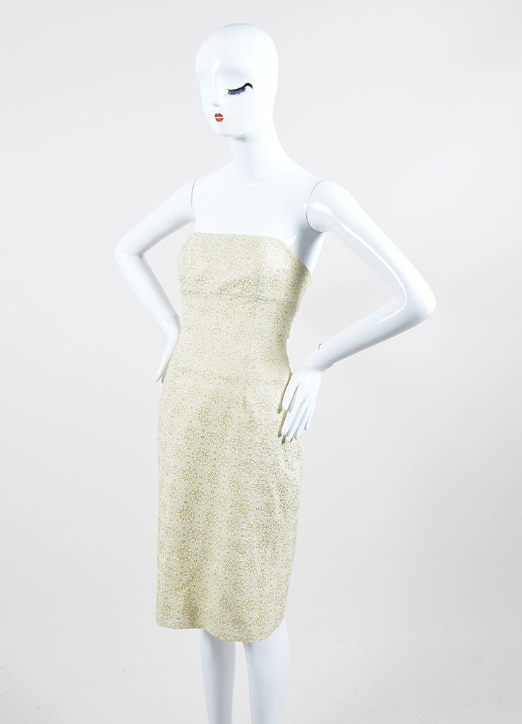 Cream and Gold Toned  Metallic Brocade Celine Strapless Dress Frontview