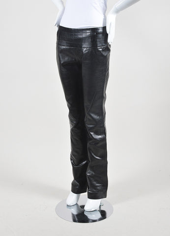 Black Chanel Leather Quilted Waist Boot Leg Pants Sideview