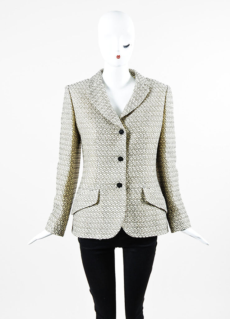 Cream and Black Chanel Wool Pattern Embroidered Notch Collar Button Jacket Frontview 2
