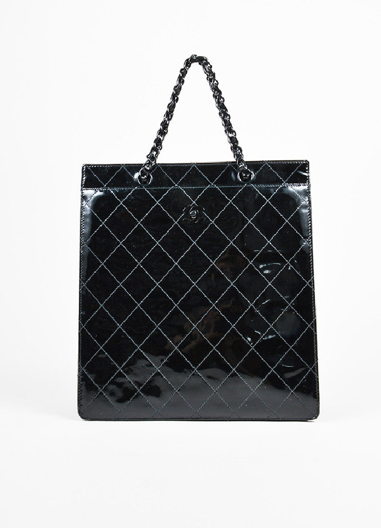 Black Chanel Patent Leather Quilted Square Shopper Tote Bag Frontview