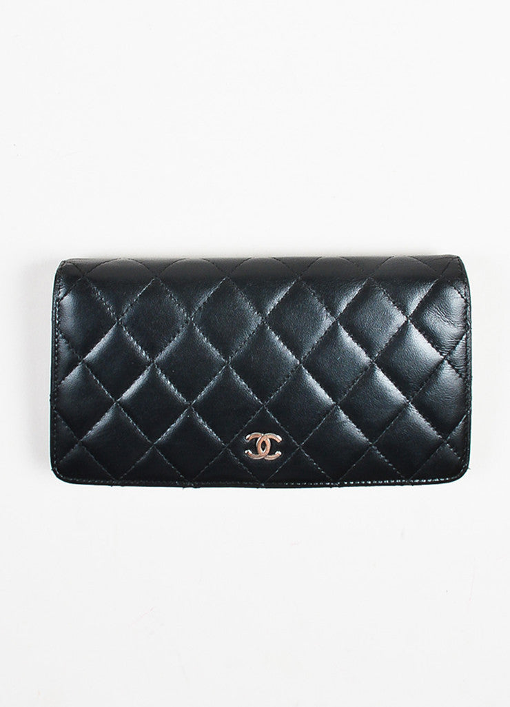 "Chanel Black Quilted Leather ""L Yen"" Bifold Continental Wallet Frontview"
