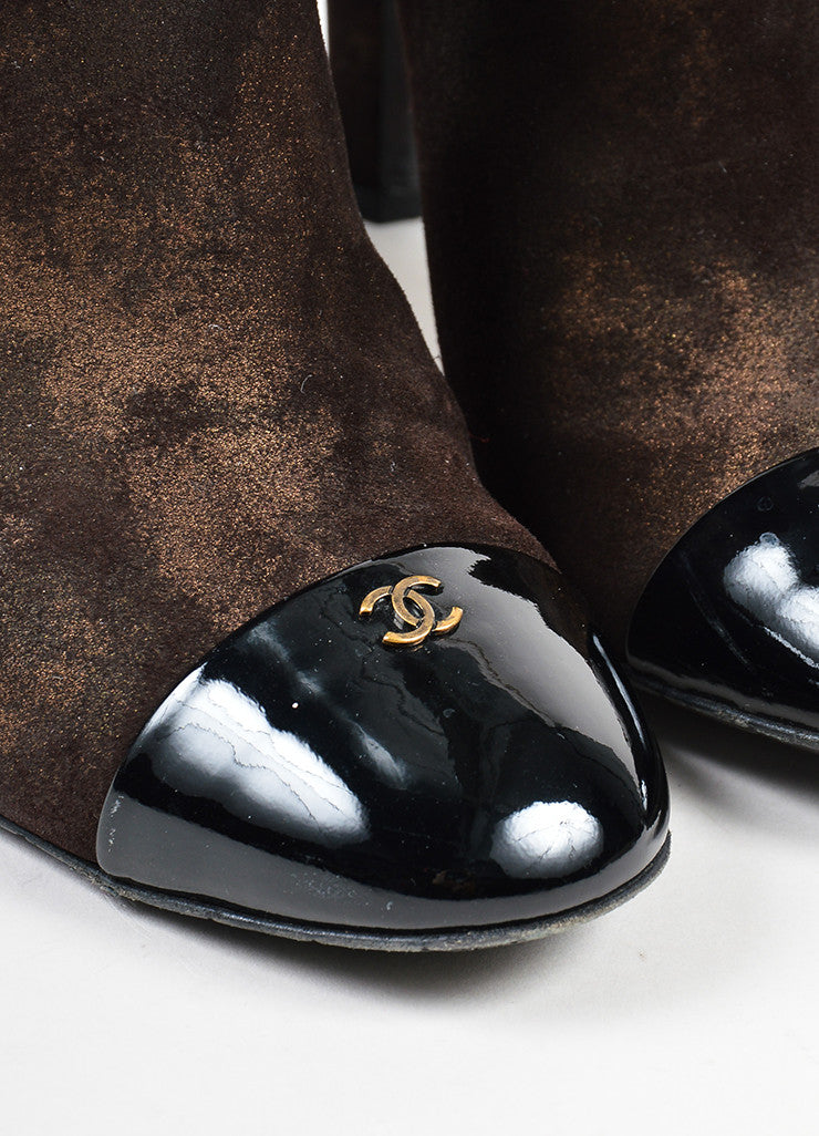 Chanel Metallic Bronze Brown and Black Leather Cap Toe 'CC' Ankle Booties Detail