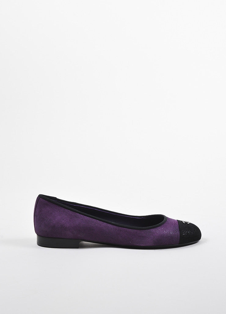 Purple and Black Chanel Suede Cap Toe 'CC' Ballerina Flats Sideview