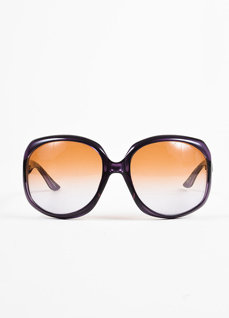 "Christian Dior Purple Translucent Oversized Oval ""Dior Glossy 1"" Sunglasses Frontview"