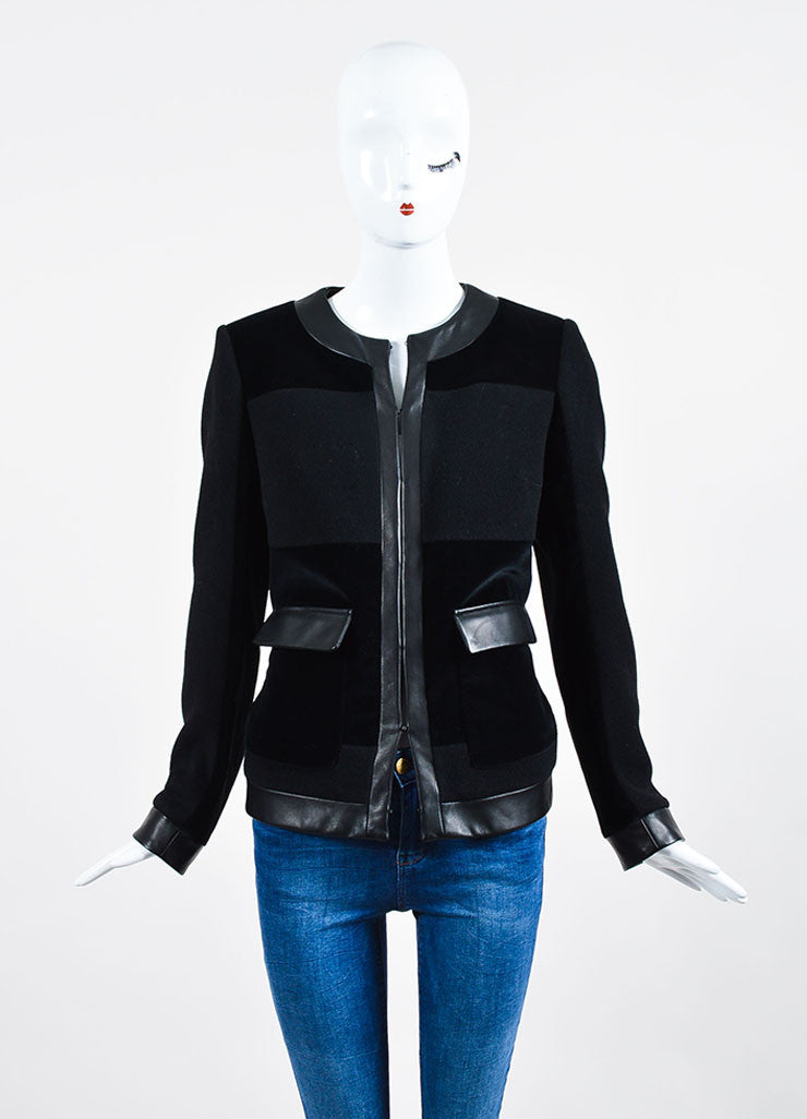 Black Christopher Kane Cashmere, Velvet, and Leather Paneled Jacket Frontview 2