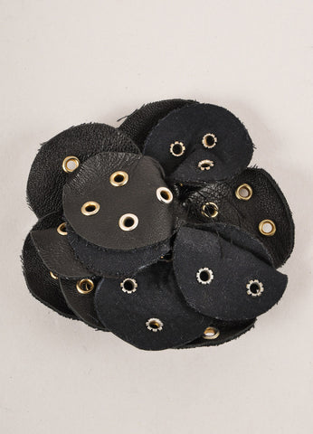 Clements RibeiroBlack and Silver Toned Grommet Embellished Leather Floral Pin Brooch Frontview
