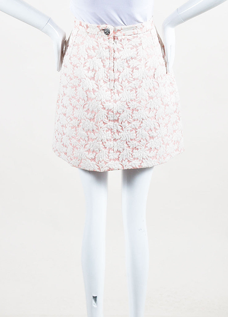 Dolce & Gabbana Pink and White Brocade Mini Skirt Backview