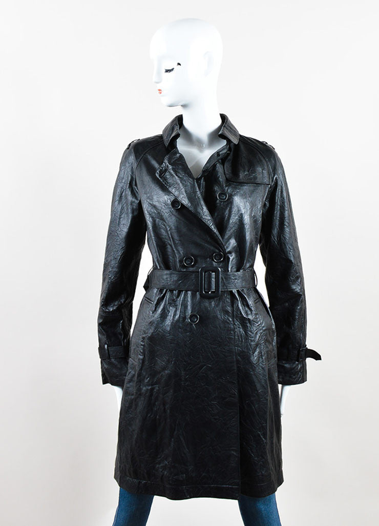 Each x Other Black Leather Long Sleeve Trench Coat  Front
