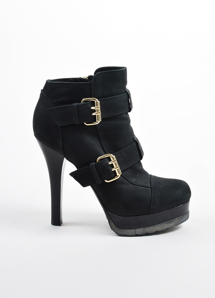 Fendi Black Suede Gold Toned Buckle Platform Heeled Ankle Booties Sideview