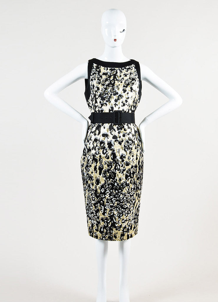 Giambattista Valli Black and Metallic Gold Silk Jacquard Belted Sleeveless Dress Frontview