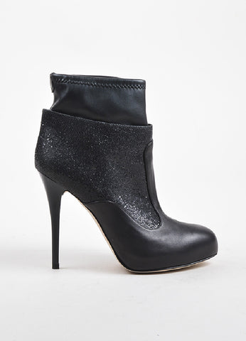 Giuseppe Zanotti Black Leather Glittered Platform Stiletto Booties Sideview
