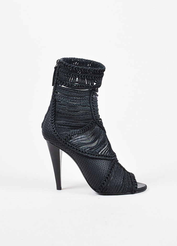 Giuseppe Zanotti Black Leather Strappy Braided Peep Toe High Heel Boots Sideview