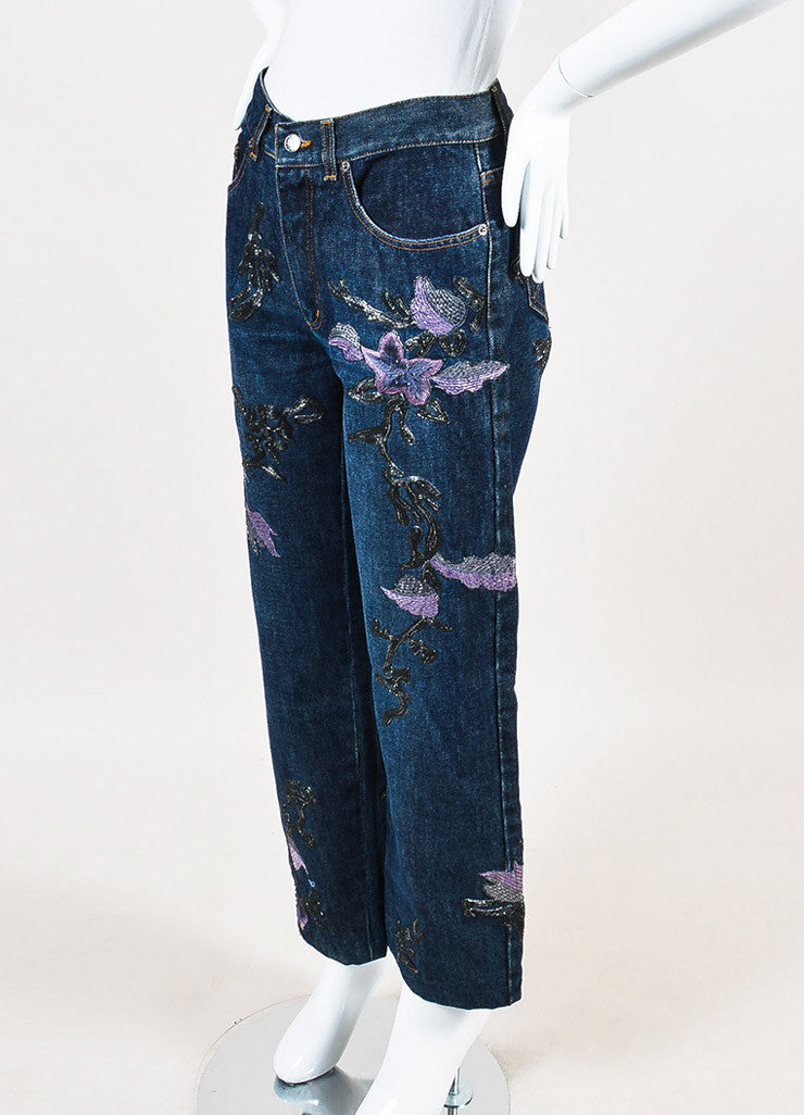 Gucci Blue, Lilac, and Metallic Silver Denim Floral Embroidered Wide Leg Jeans Sideview