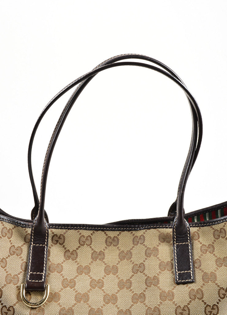 "Gucci Brown Monogram Canvas ""GG"" Tote Bag Detail 2"