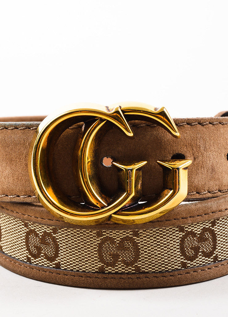 Gucci Tan Gold Toned Suede and Canvas Monogram Belt Detail