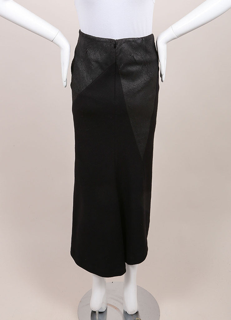 "Haider AckermannNew With Tags Black Asymmetric Leather and Wool ""Serlupi"" Skirt Backview"