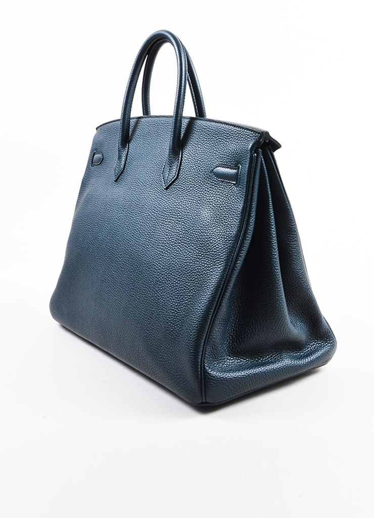 "Hermes Navy Blue Clemence Leather Palladium Hardware ""Birkin"" 40 cm Bag Sideview"