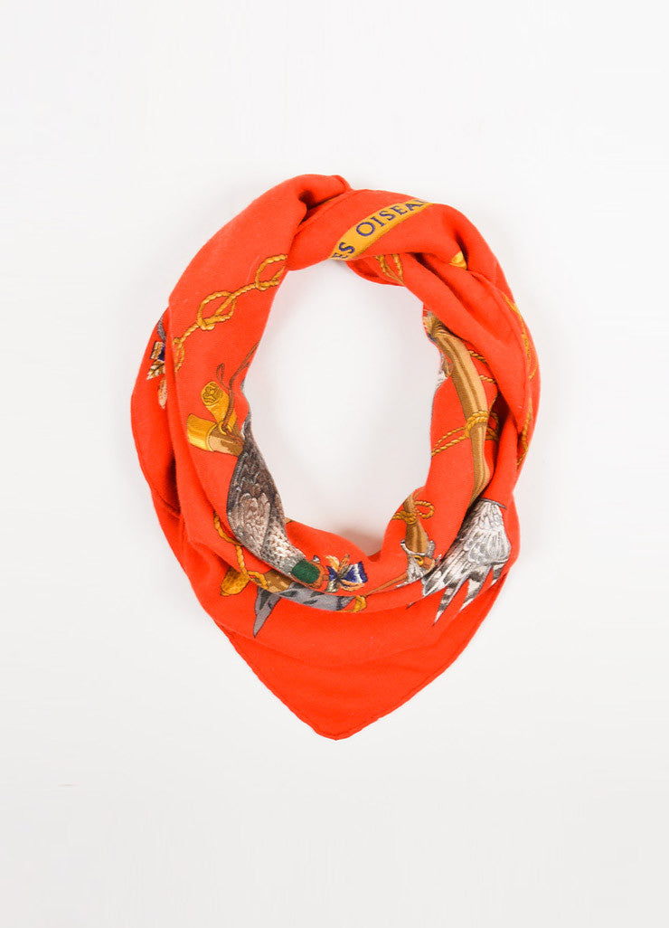 "Hermes Red and Multicolor Twill ""Les Oiseaux Du Roy"" Square Scarf Frontview"