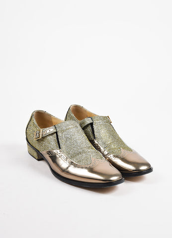 "Jimmy Choo Silver Gold Black Metallic Leather ""Bay"" Brogue Loafers Front"