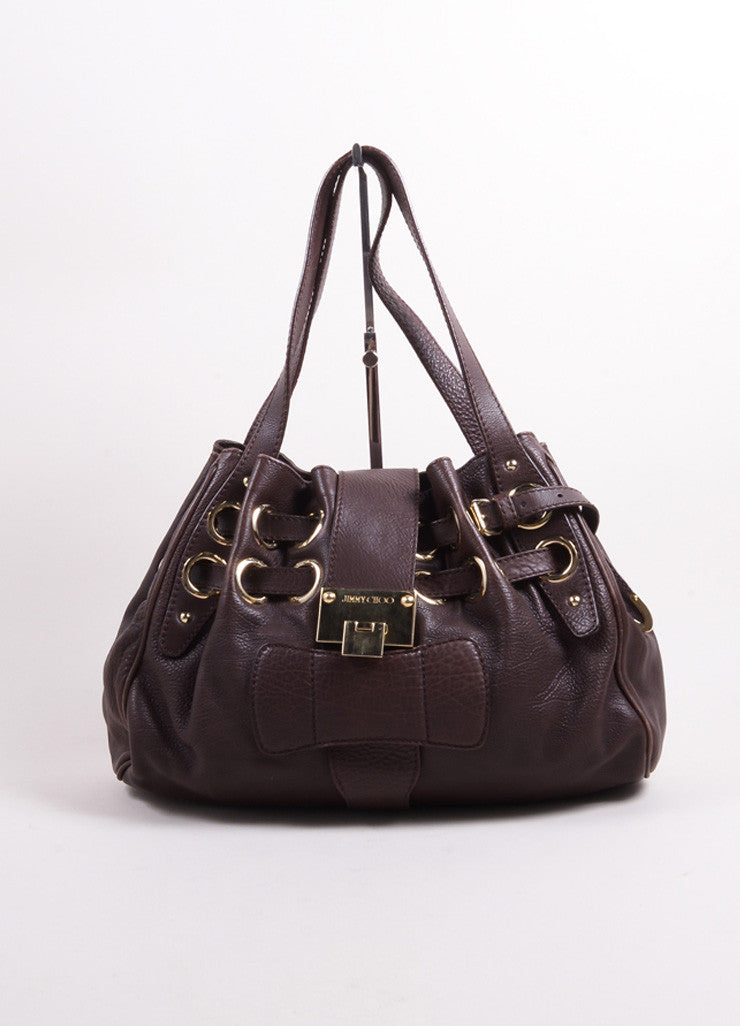 "Jimmy Choo Chocolate Brown Leather ""Ramona"" Belted Grommet Hobo Bag Frontview"