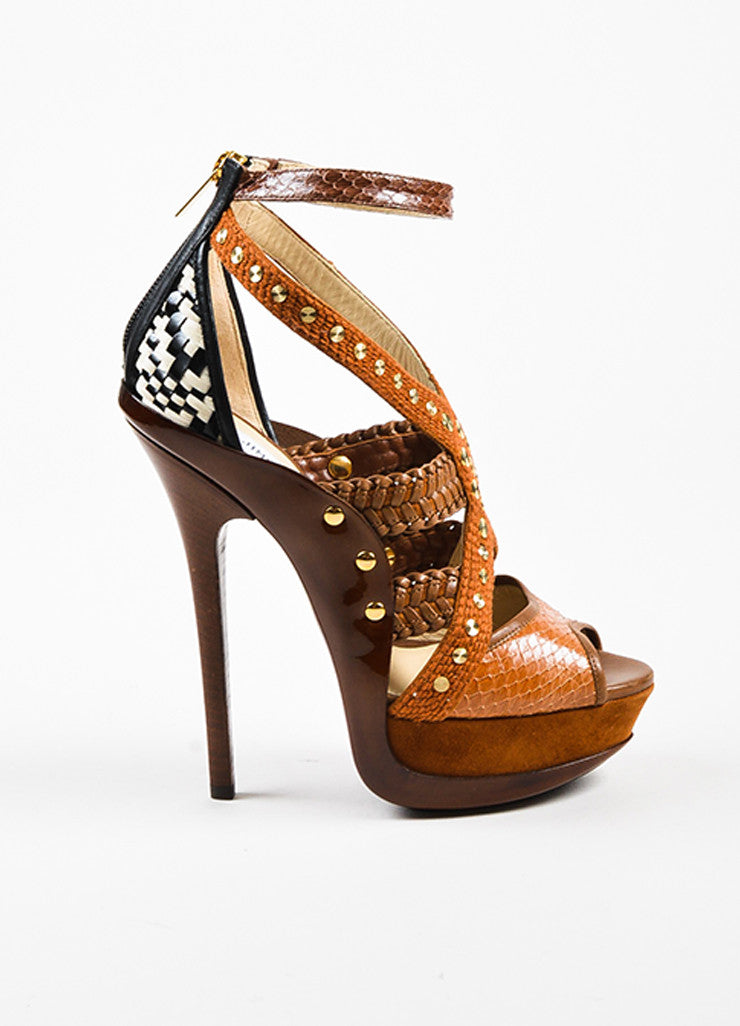 "Jimmy Choo Tan Patent Leather Peep Toe ""Vivienne"" Platform Sandals Sideview"