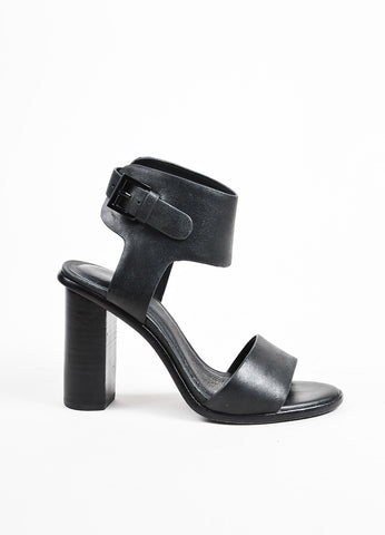 "Joie ""Blackout"" Leather Two Piece ""Opal"" Block Heel Sandals Sideview"