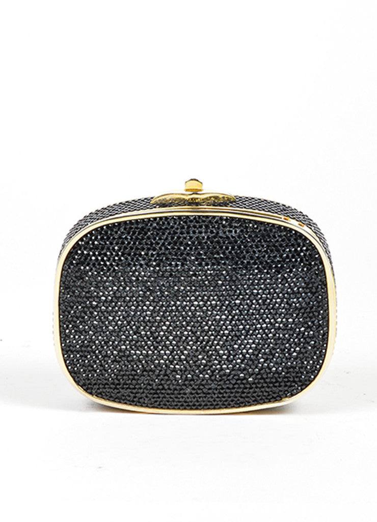 Black Rhinestone Judith Leiber Small Minaudiere Clutch Front