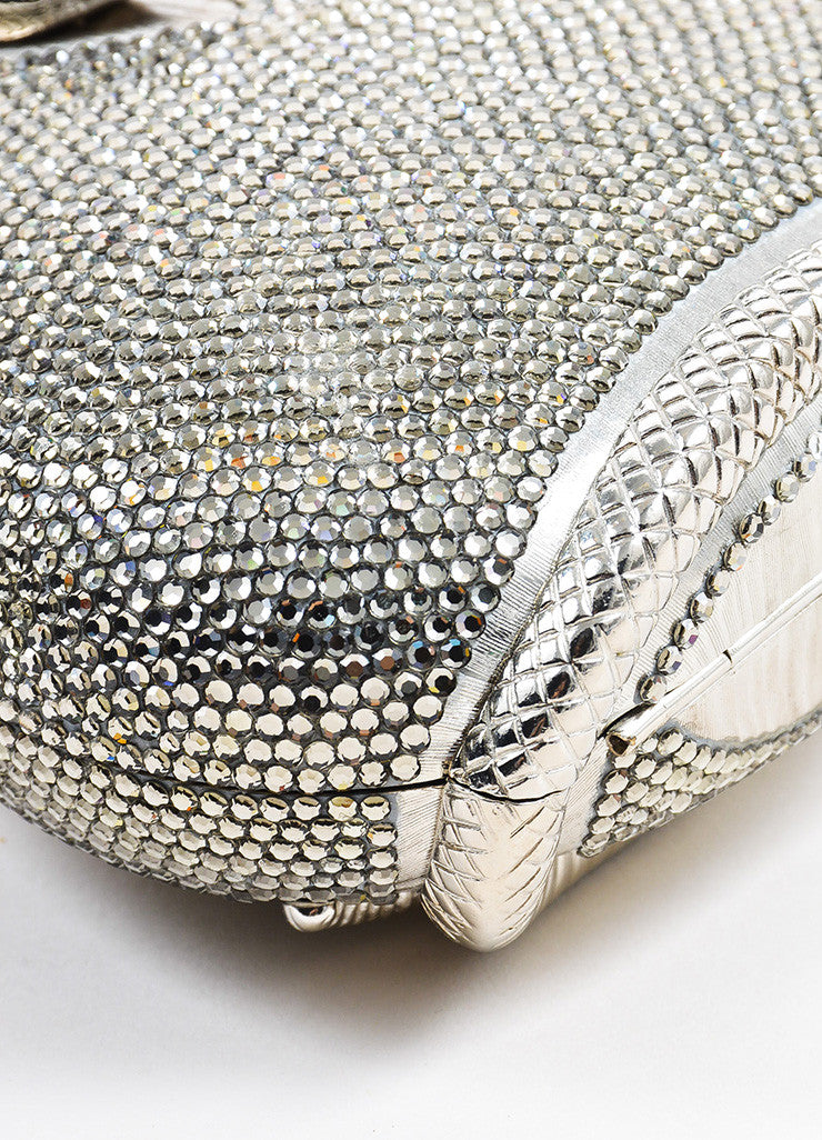 Judith Leiber Metallic Silver Toned Snake Frame Crystal Encrusted Miniaudiere Detail