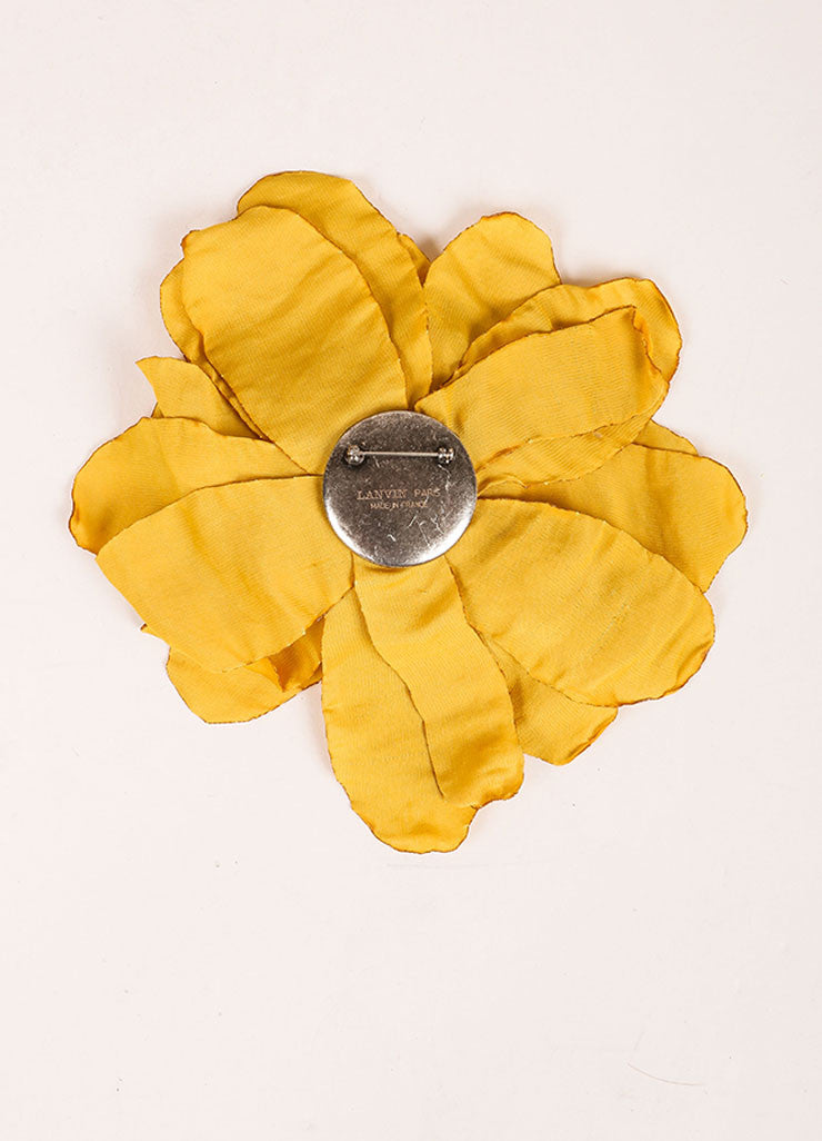 Lanvin Yellow Silk Oversized Flower Pin Brooch Backview