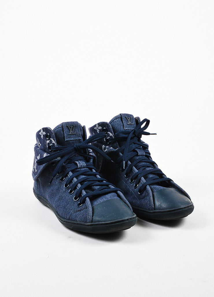 "Louis Vuitton Blue Monogram Denim High Top Lace Up ""Brea"" Sneakers Frontview"