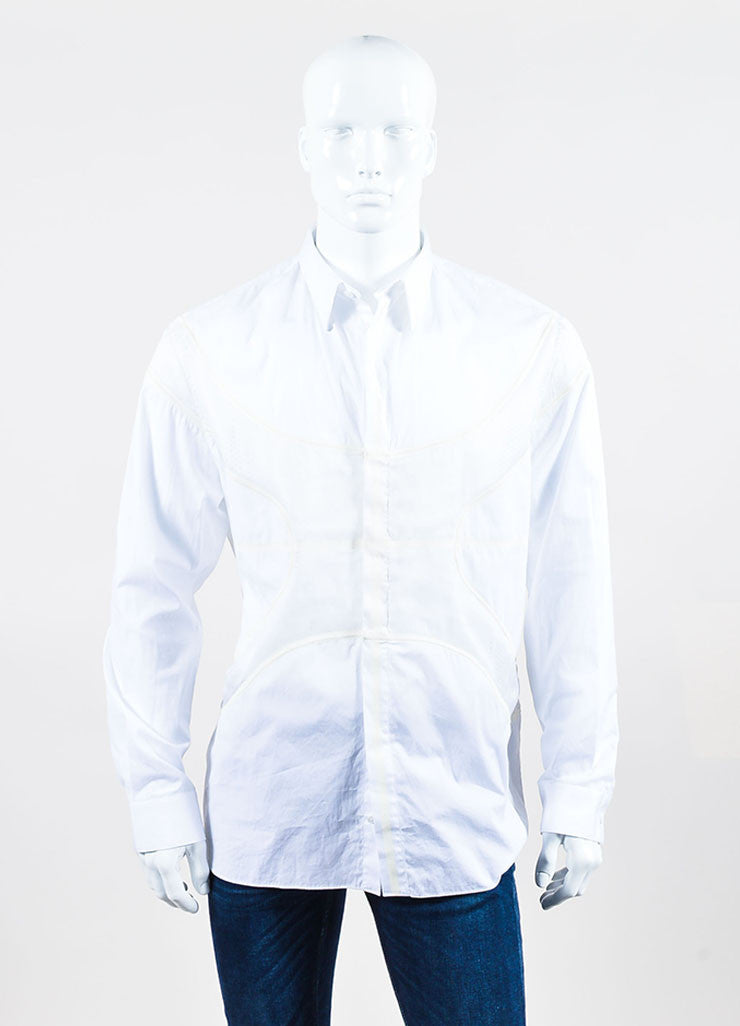 Men's Givenchy White Poplin Mesh Basketball Panel Button Up Shirt  Frontview