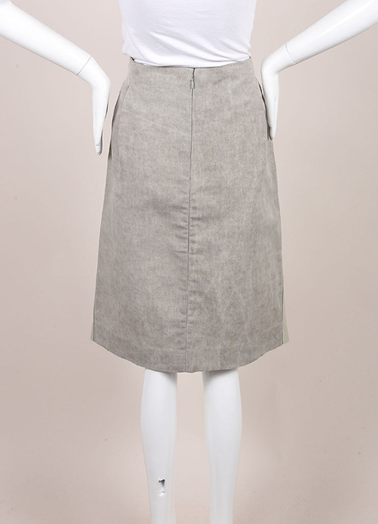 Marni Grey Patent Leather and Linen Straight Knee Length Skirt Backview