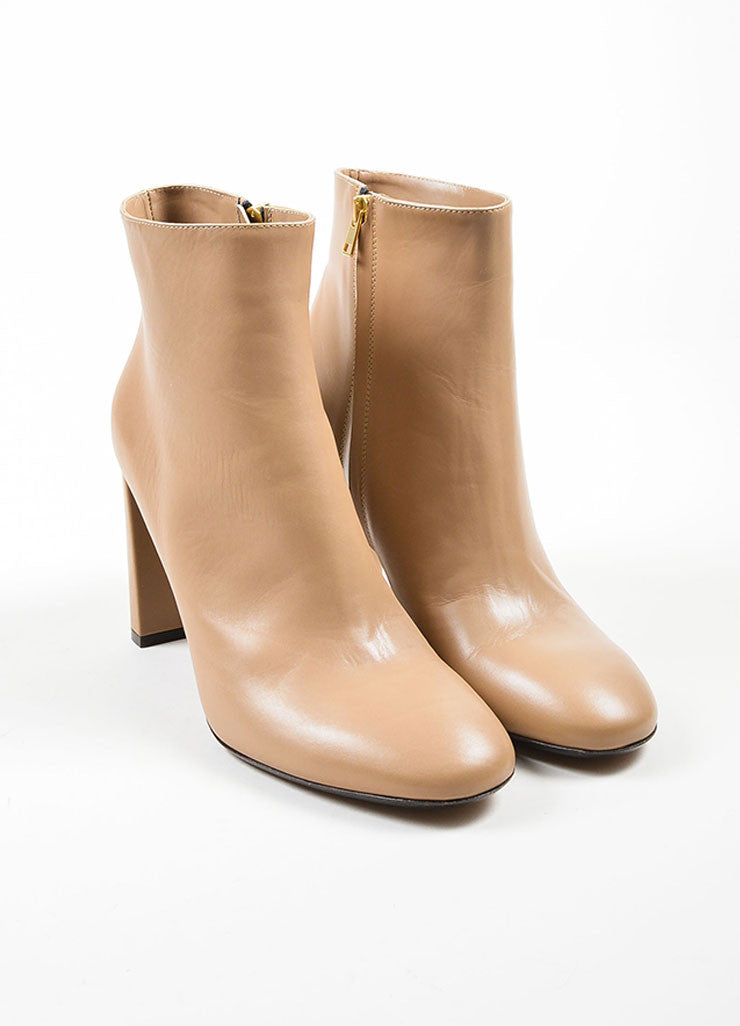 Sand Tan Marni Leather High Heel Round Toe Ankle Boots Frontview
